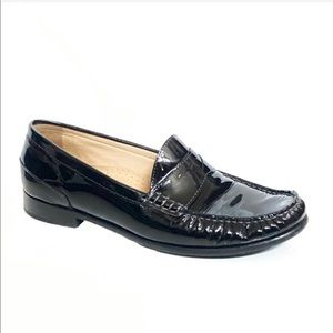 Cole Haan patent black air pinch penny loafers